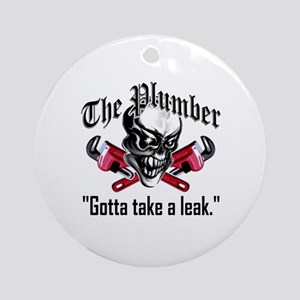 Plumber Skull 5: Take a Leak Round Ornament