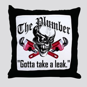 Plumber Skull 5: Take a Leak Throw Pillow