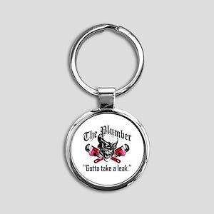 Plumber Skull 5: Take a Leak Round Keychain