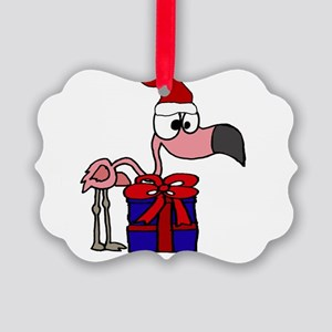 Funny Flamingo and Christmas Gift Picture Ornament