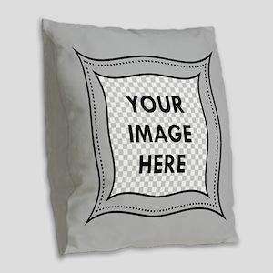 CUSTOM Photo Frame Gray Burlap Throw Pillow
