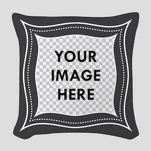 CUSTOM Photo Frame Dark Gray Woven Throw Pillow