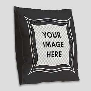 CUSTOM Photo Frame Dark Gray Burlap Throw Pillow
