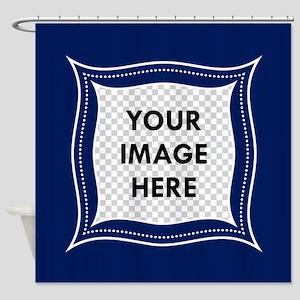 CUSTOM Photo Frame Blue Shower Curtain