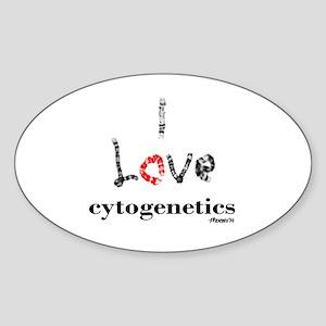I love Cytogenetics Chromosome Lett Sticker (Oval)