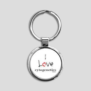 I love Cytogenetics Chromosome Lett Round Keychain