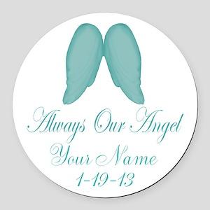 Always Our Angel Blue Round Car Magnet