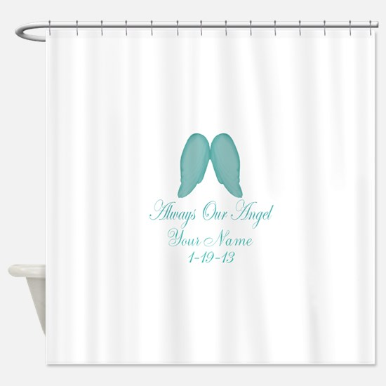 Always Our Angel Blue Shower Curtain