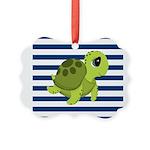 Sea Turtle Navy Stripes Ornament