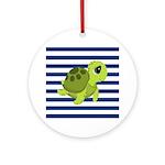 Sea Turtle Navy Stripes Ornament (Round)