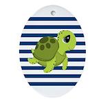 Sea Turtle Navy Stripes Ornament (Oval)