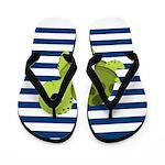 Sea Turtle Navy Stripes Flip Flops