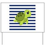 Sea Turtle Navy Stripes Yard Sign