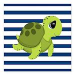Sea Turtle Navy Stripes Square Car Magnet 3