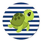 Sea Turtle Navy Stripes Round Car Magnet