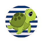 Sea Turtle Navy Stripes Button