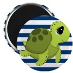 Sea Turtle Navy Stripes Magnets