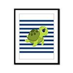 Sea Turtle Navy Stripes Framed Panel Print