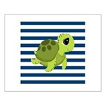 Sea Turtle Navy Stripes Posters