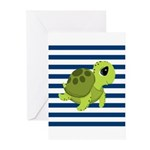 Sea Turtle Navy Stripes Greeting Cards