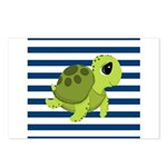 Sea Turtle Navy Stripes Postcards (Package of 8)