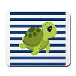Sea Turtle Navy Stripes Mousepad