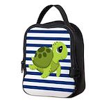 Sea Turtle Navy Stripes Neoprene Lunch Bag