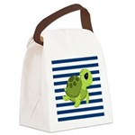 Sea Turtle Navy Stripes Canvas Lunch Bag