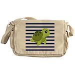 Sea Turtle Navy Stripes Messenger Bag