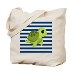 Sea Turtle Navy Stripes Tote Bag