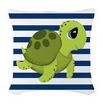 Sea Turtle Navy Stripes Woven Throw Pillow