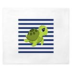 Sea Turtle Navy Stripes King Duvet