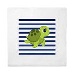 Sea Turtle Navy Stripes Queen Duvet