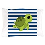 Sea Turtle Navy Stripes Pillow Case