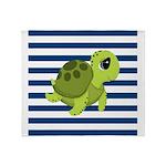 Sea Turtle Navy Stripes Throw Blanket