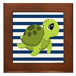 Sea Turtle Navy Stripes Framed Tile