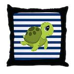 Sea Turtle Navy Stripes Throw Pillow