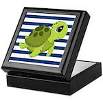 Sea Turtle Navy Stripes Keepsake Box