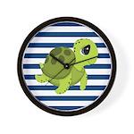 Sea Turtle Navy Stripes Wall Clock