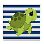 Sea Turtle Navy Stripes Tile Coaster