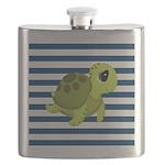 Sea Turtle Navy Stripes Flask