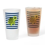 Sea Turtle Navy Stripes Drinking Glass