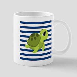 Sea Turtle Navy Stripes Mugs