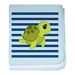Sea Turtle Navy Stripes baby blanket