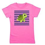 Sea Turtle Navy Stripes Girl's Tee