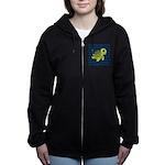 Sea Turtle Navy Stripes Women's Zip Hoodie