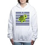Sea Turtle Navy Stripes Women's Hooded Sweatshirt