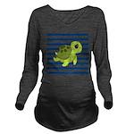Sea Turtle Navy Stripes Long Sleeve Maternity T-Sh