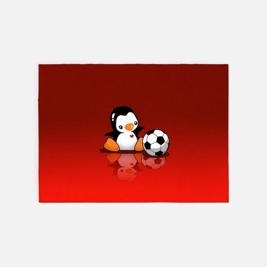 Soccer Penguin 5'x7'Area Rug