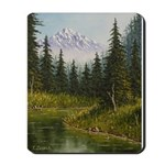 Mountain forest lake Mousepad